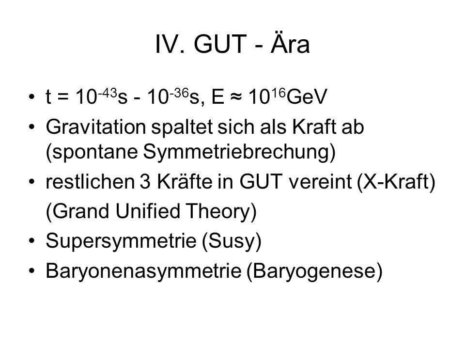 IV. GUT - Ära t = 10 -43 s - 10 -36 s, E 10 16 GeV Gravitation spaltet sich als Kraft ab (spontane Symmetriebrechung) restlichen 3 Kräfte in GUT verei