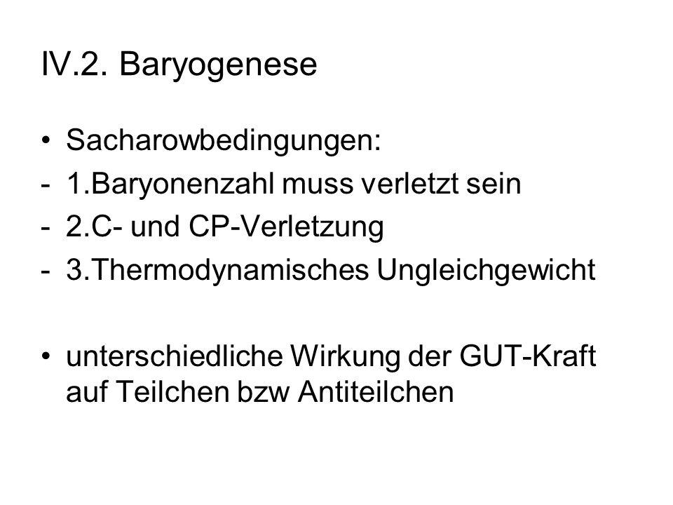 IV.2. Baryogenese Sacharowbedingungen: -1.Baryonenzahl muss verletzt sein -2.C- und CP-Verletzung -3.Thermodynamisches Ungleichgewicht unterschiedlich