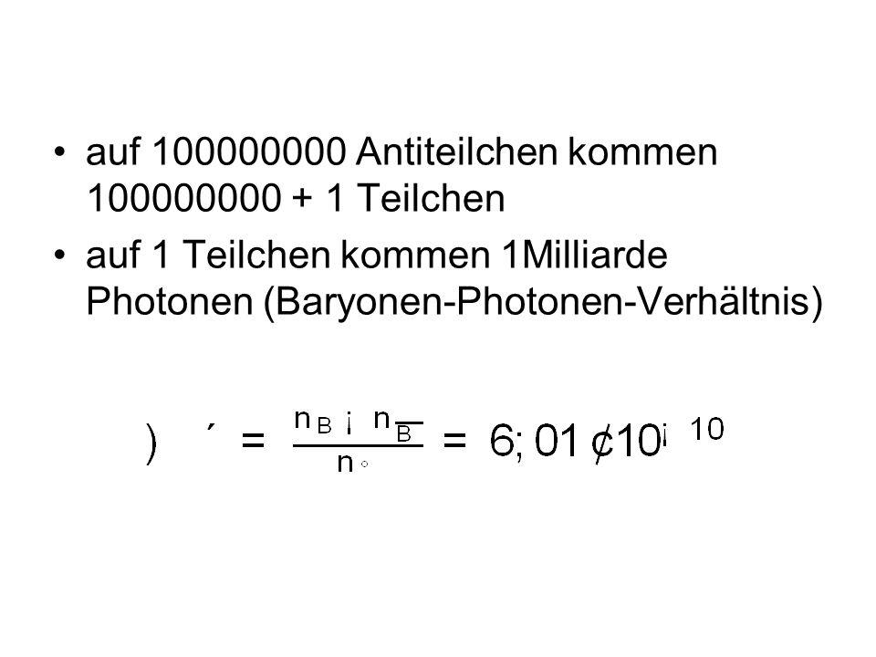 auf 100000000 Antiteilchen kommen 100000000 + 1 Teilchen auf 1 Teilchen kommen 1Milliarde Photonen (Baryonen-Photonen-Verhältnis)