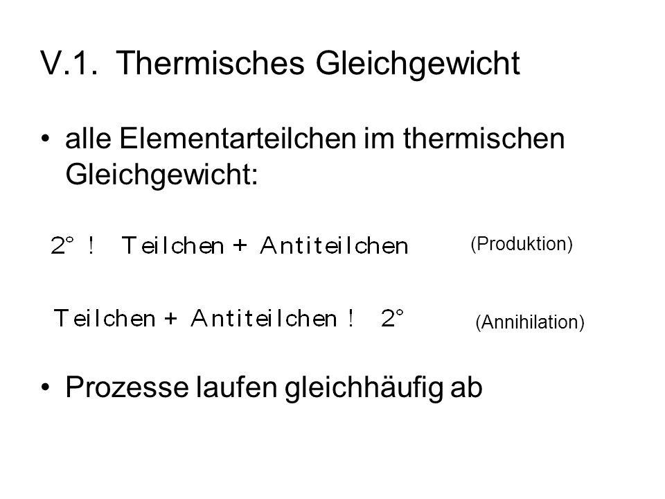 V.1. Thermisches Gleichgewicht alle Elementarteilchen im thermischen Gleichgewicht: Prozesse laufen gleichhäufig ab (Produktion) (Annihilation)