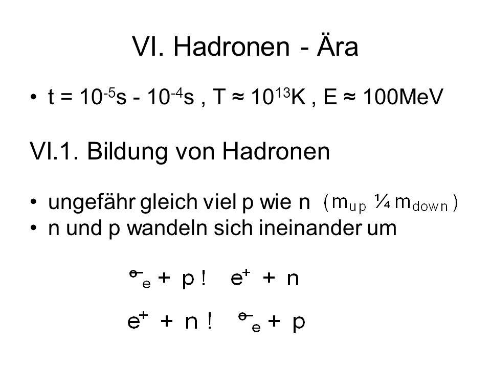 VI. Hadronen - Ära t = 10 -5 s - 10 -4 s, T 10 13 K, E 100MeV VI.1. Bildung von Hadronen ungefähr gleich viel p wie n n und p wandeln sich ineinander