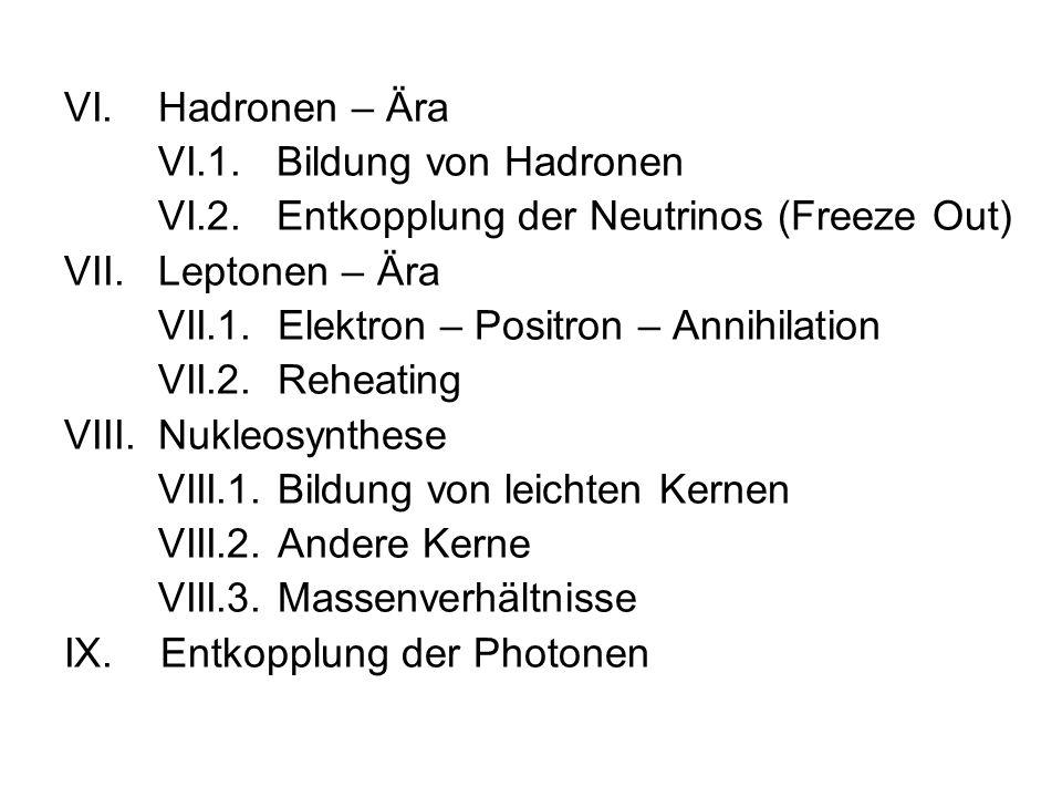 VI.Hadronen – Ära VI.1.Bildung von Hadronen VI.2.Entkopplung der Neutrinos (Freeze Out) VII.Leptonen – Ära VII.1. Elektron – Positron – Annihilation V