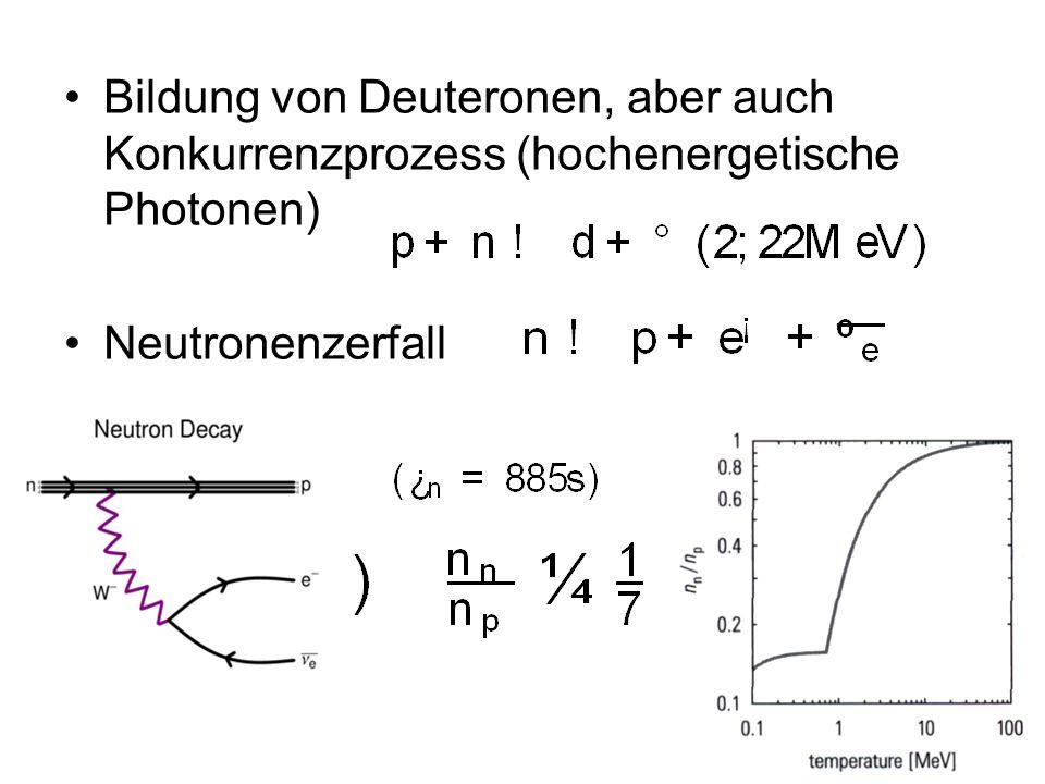 Bildung von Deuteronen, aber auch Konkurrenzprozess (hochenergetische Photonen) Neutronenzerfall