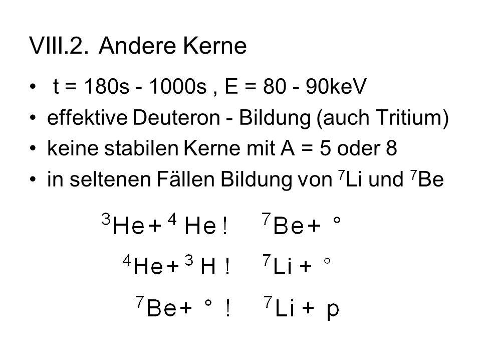 VIII.2. Andere Kerne t = 180s - 1000s, E = 80 - 90keV effektive Deuteron - Bildung (auch Tritium) keine stabilen Kerne mit A = 5 oder 8 in seltenen Fä