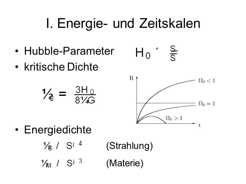 I. Energie- und Zeitskalen Hubble-Parameter kritische Dichte Energiedichte (Strahlung) (Materie)