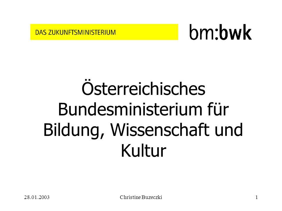 28.01.2003Christine Buzeczki1 Österreichisches Bundesministerium für Bildung, Wissenschaft und Kultur