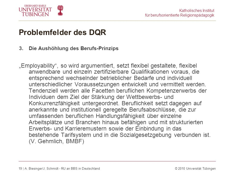 Katholisches Institut für berufsorientierte Religionspädagogik 19 | A.