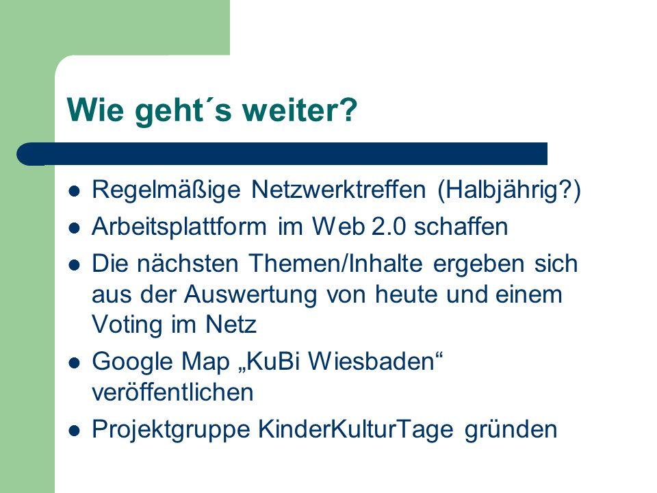 Wie geht´s weiter? Regelmäßige Netzwerktreffen (Halbjährig?) Arbeitsplattform im Web 2.0 schaffen Die nächsten Themen/Inhalte ergeben sich aus der Aus