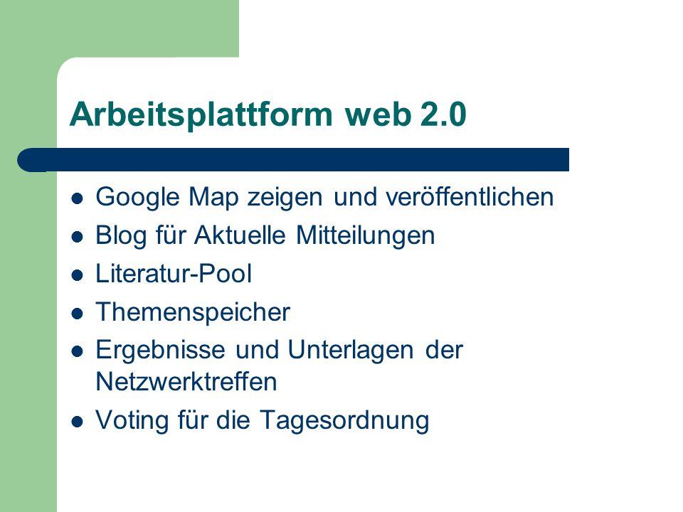 Arbeitsplattform web 2.0 Google Map zeigen und veröffentlichen Blog für Aktuelle Mitteilungen Literatur-Pool Themenspeicher Ergebnisse und Unterlagen der Netzwerktreffen Voting für die Tagesordnung