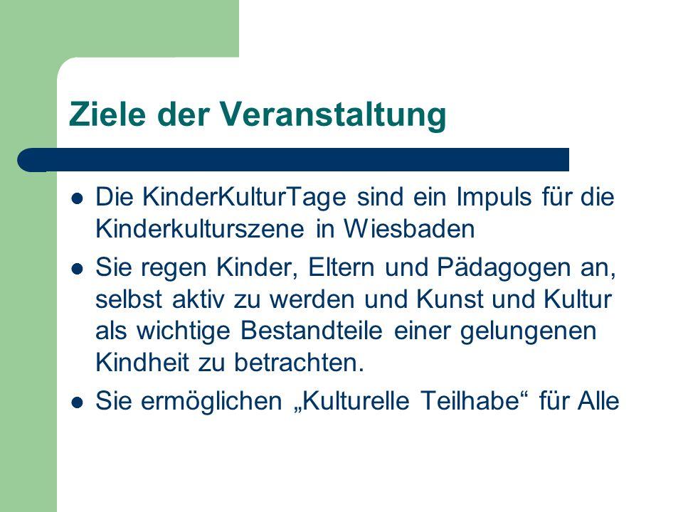 Ziele der Veranstaltung Die KinderKulturTage sind ein Impuls für die Kinderkulturszene in Wiesbaden Sie regen Kinder, Eltern und Pädagogen an, selbst