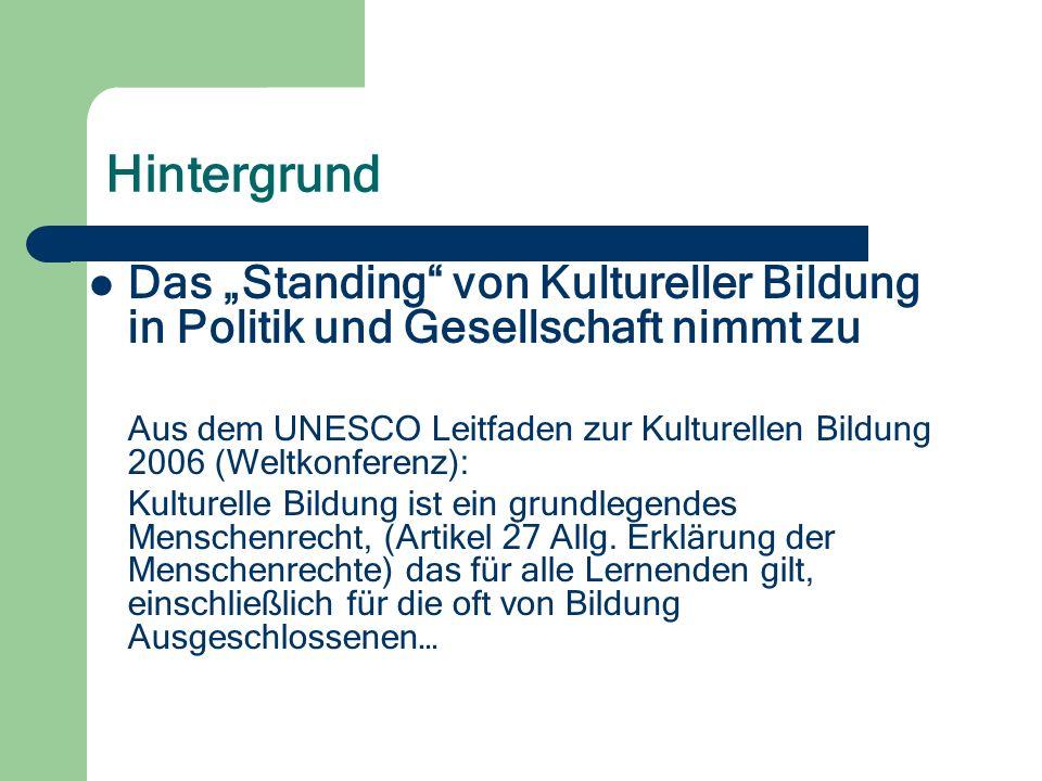 Hintergrund Das Standing von Kultureller Bildung in Politik und Gesellschaft nimmt zu Aus dem UNESCO Leitfaden zur Kulturellen Bildung 2006 (Weltkonferenz): Kulturelle Bildung ist ein grundlegendes Menschenrecht, (Artikel 27 Allg.