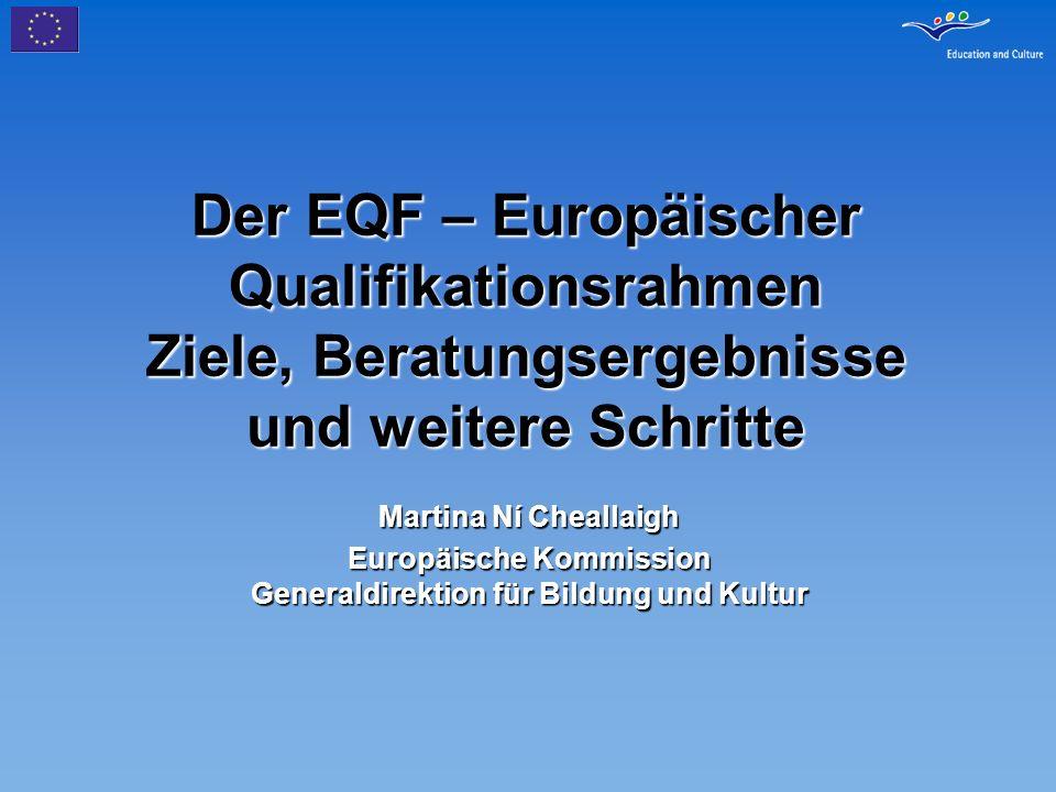 Verbinden von Qualifikationen und EQF: die Rolle sektoraler Interessengruppen Sektoren haben ihr Interesse an einem allgemeinen Referenzpunkt ausgedrückt Fokus auf einem ergebnis- und kompetenzbasierten Ansatz Follow-up zum Maastricht-Communique