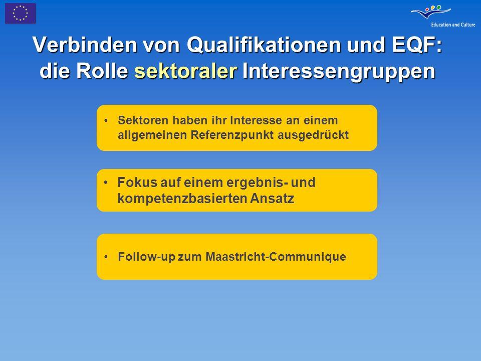 Verbinden von Qualifikationen und EQF: die Rolle sektoraler Interessengruppen Sektoren haben ihr Interesse an einem allgemeinen Referenzpunkt ausgedrü