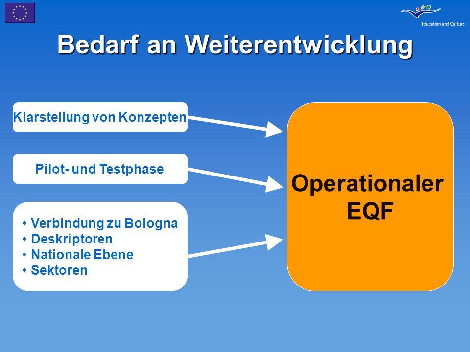 Bedarf an Weiterentwicklung Operationaler EQF Klarstellung von Konzepten Pilot- und Testphase Verbindung zu Bologna Deskriptoren Nationale Ebene Sekto