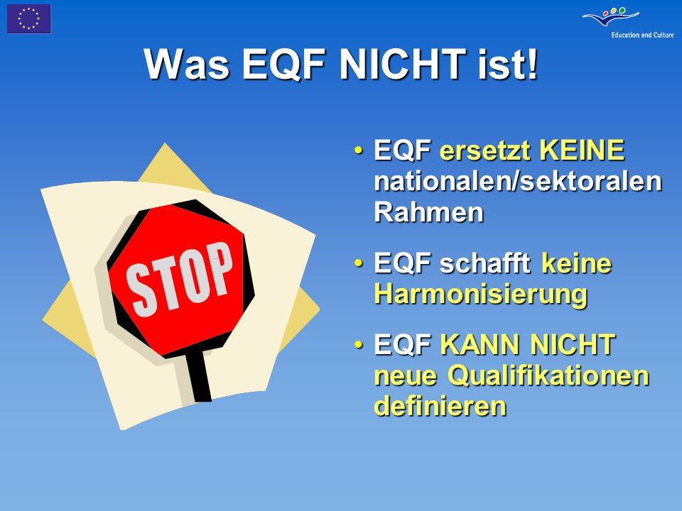 Was EQF NICHT ist! EQF ersetzt KEINE nationalen/sektoralen RahmenEQF ersetzt KEINE nationalen/sektoralen Rahmen EQF schafft keine HarmonisierungEQF sc
