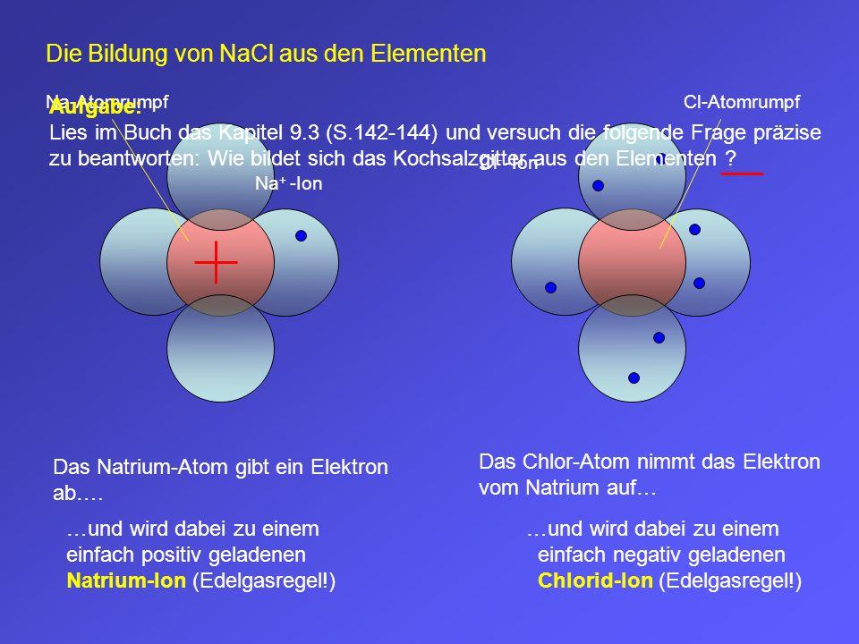 Na-Atomrumpf Das Natrium-Atom gibt ein Elektron ab…. …und wird dabei zu einem einfach positiv geladenen Natrium-Ion (Edelgasregel!) Cl-Atomrumpf Das C