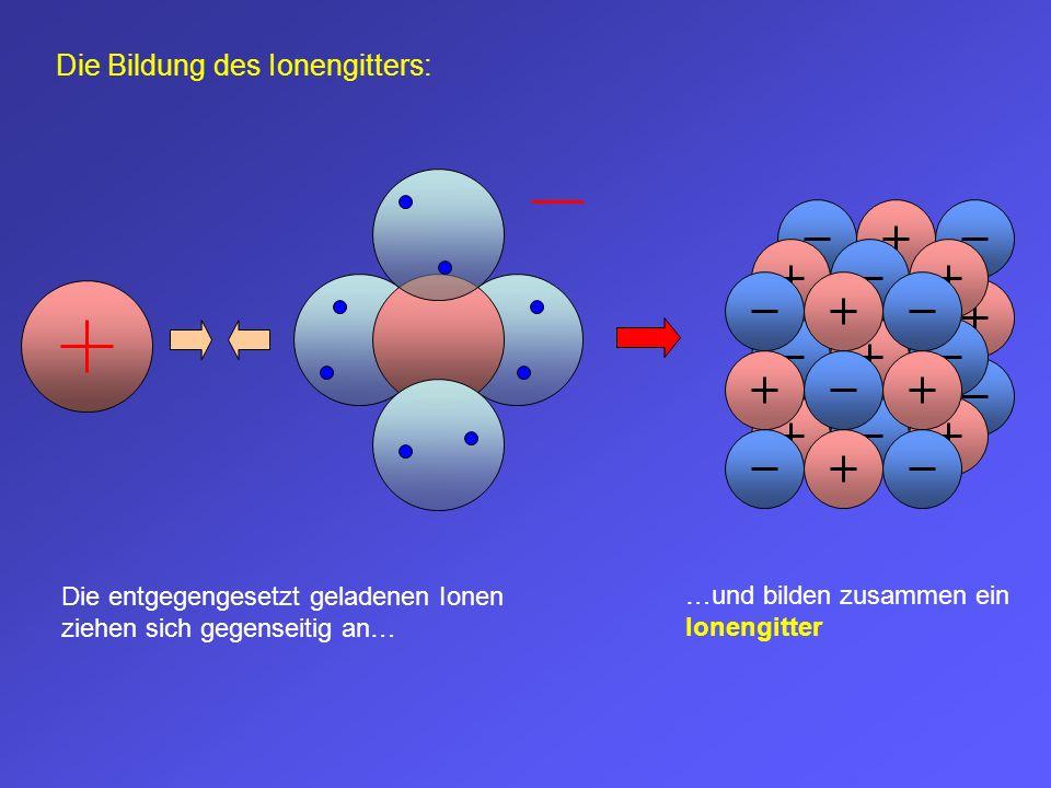 …und bilden zusammen ein Ionengitter Die entgegengesetzt geladenen Ionen ziehen sich gegenseitig an… Die Bildung des Ionengitters: