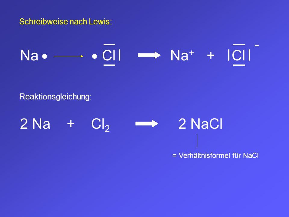 Schreibweise nach Lewis: NaCl Reaktionsgleichung: Na + +Cl - 2 Na + Cl 2 2 NaCl = Verhältnisformel für NaCl