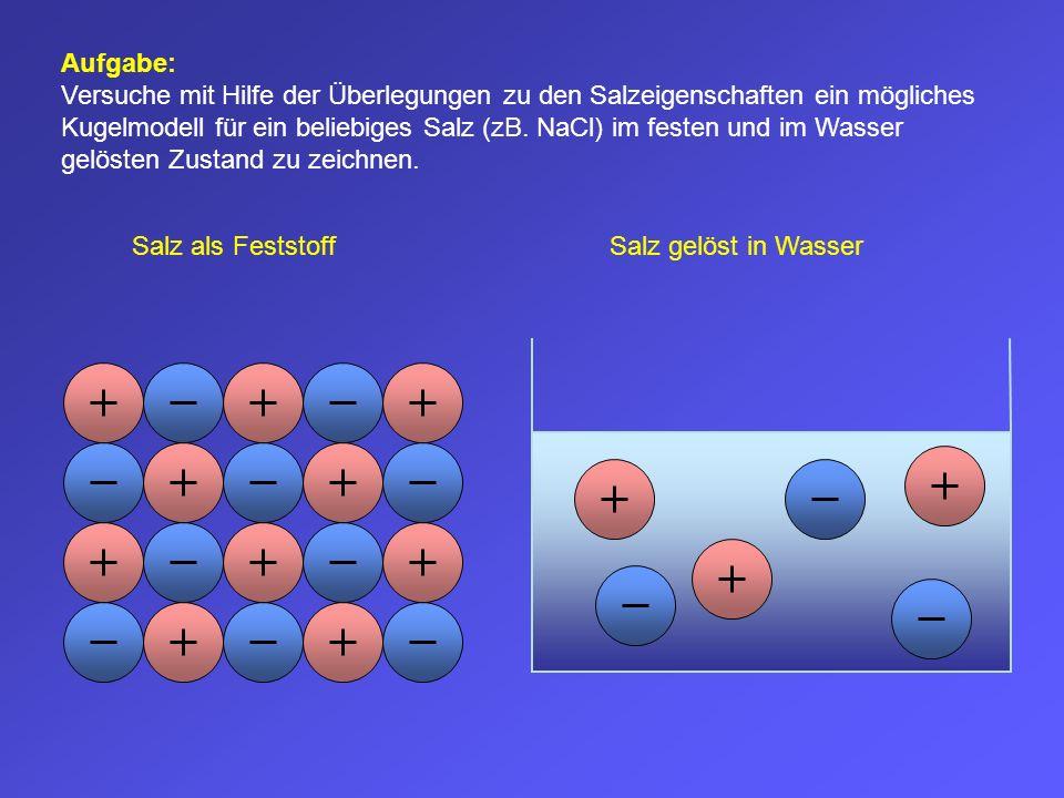 Aufgabe: Versuche mit Hilfe der Überlegungen zu den Salzeigenschaften ein mögliches Kugelmodell für ein beliebiges Salz (zB. NaCl) im festen und im Wa