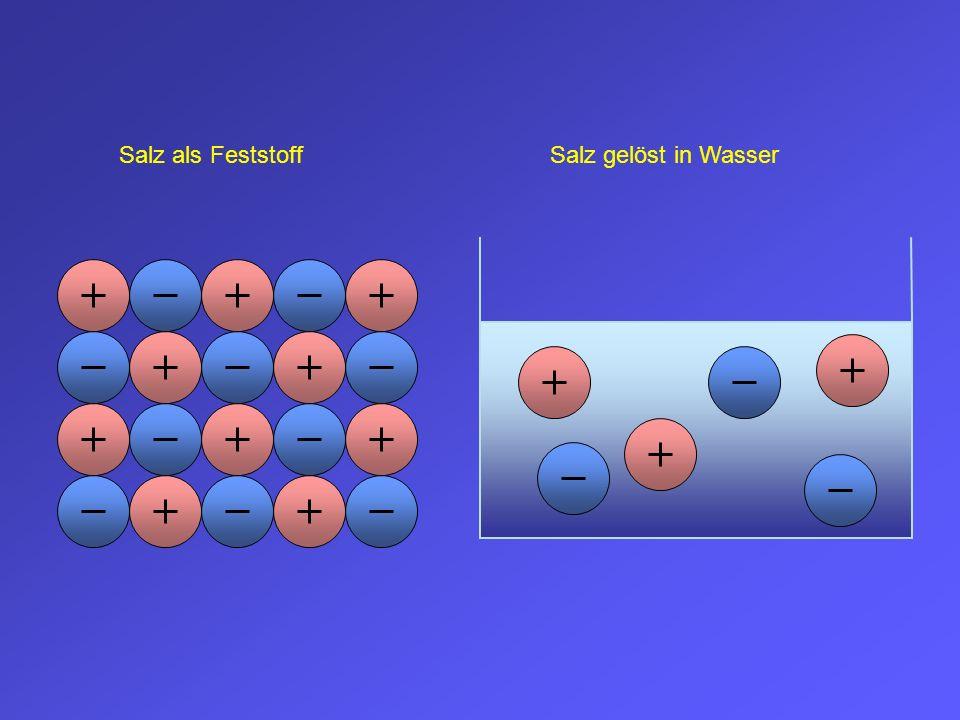 Salz als FeststoffSalz gelöst in Wasser