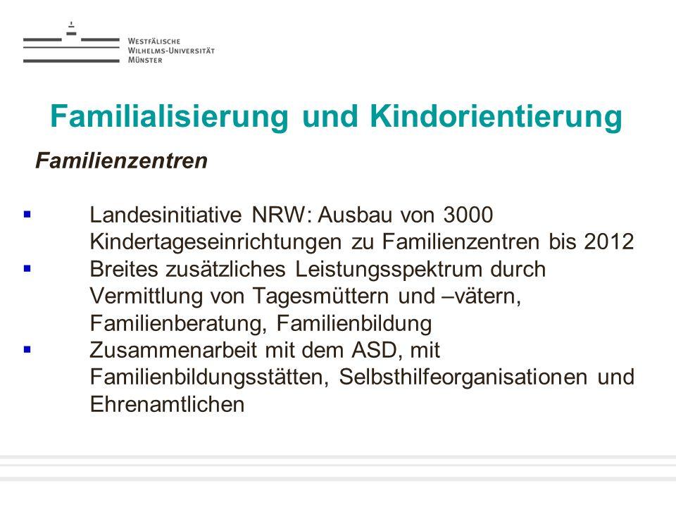 Familialisierung und Kindorientierung Familienzentren Landesinitiative NRW: Ausbau von 3000 Kindertageseinrichtungen zu Familienzentren bis 2012 Breit