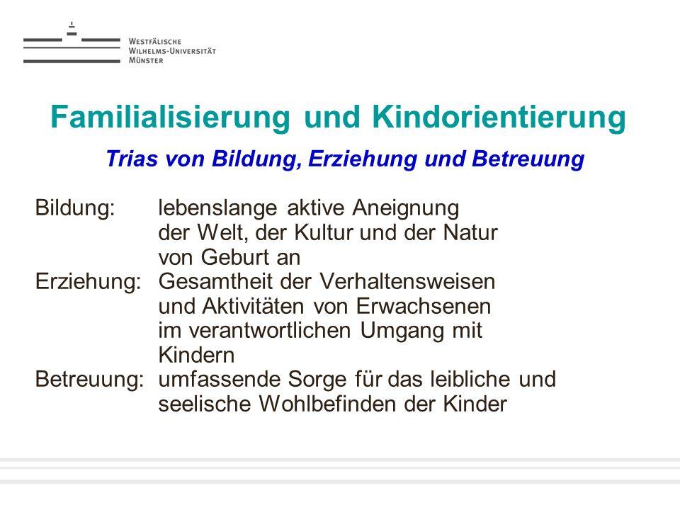 Familialisierung und Kindorientierung Trias von Bildung, Erziehung und Betreuung Bildung:lebenslange aktive Aneignung der Welt, der Kultur und der Nat