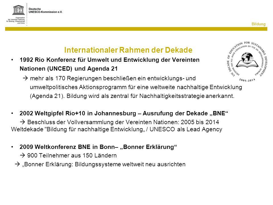 Bildung Internationaler Rahmen der Dekade 1992 Rio Konferenz für Umwelt und Entwicklung der Vereinten Nationen (UNCED) und Agenda 21 mehr als 170 Regi