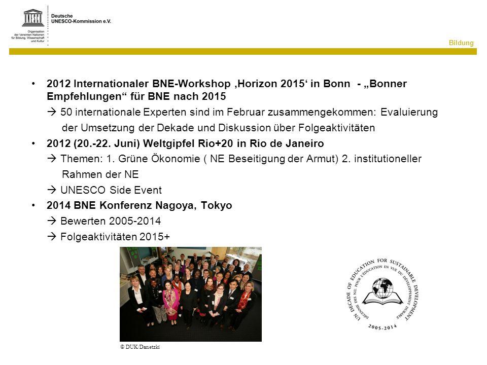 Bildung 2012 Internationaler BNE-Workshop Horizon 2015 in Bonn - Bonner Empfehlungen für BNE nach 2015 50 internationale Experten sind im Februar zusa