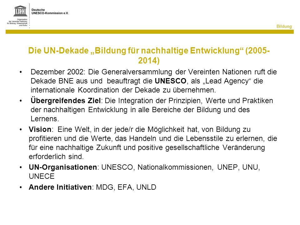 Bildung Die UN-Dekade Bildung für nachhaltige Entwicklung (2005- 2014) Dezember 2002: Die Generalversammlung der Vereinten Nationen ruft die Dekade BN
