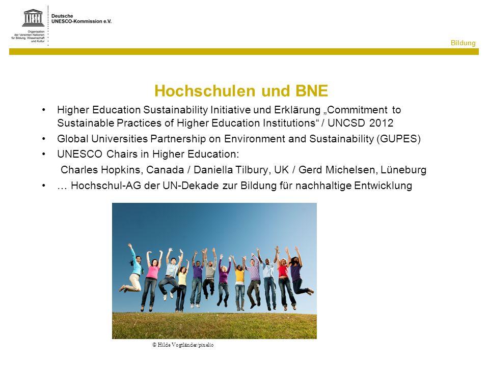 Bildung Hochschulen und BNE Higher Education Sustainability Initiative und Erklärung Commitment to Sustainable Practices of Higher Education Instituti