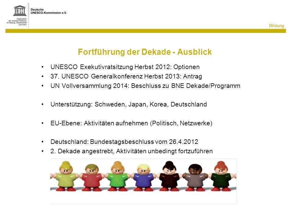 Bildung Fortführung der Dekade - Ausblick UNESCO Exekutivratsitzung Herbst 2012: Optionen 37. UNESCO Generalkonferenz Herbst 2013: Antrag UN Vollversa
