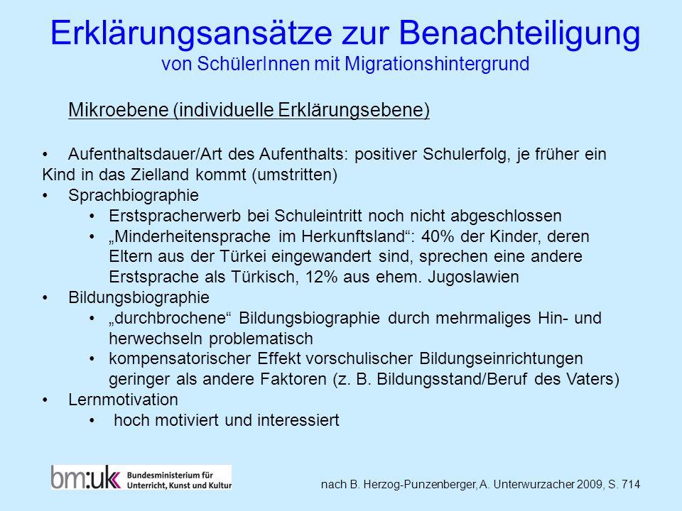 Erklärungsansätze zur Benachteiligung von SchülerInnen mit Migrationshintergrund nach B. Herzog-Punzenberger, A. Unterwurzacher 2009, S. 714 Mikroeben
