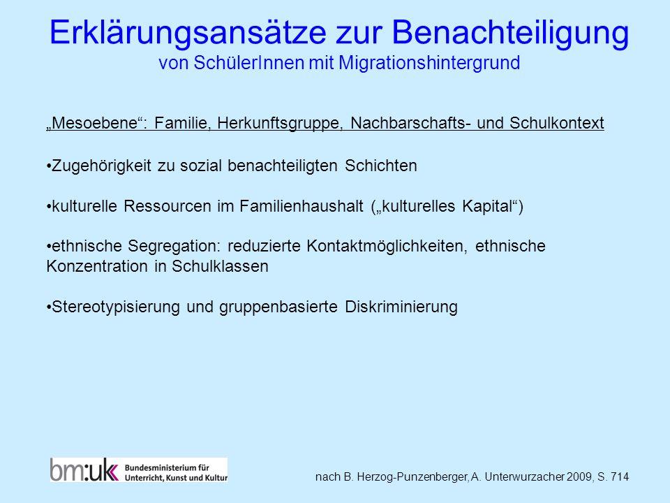 Erklärungsansätze zur Benachteiligung von SchülerInnen mit Migrationshintergrund nach B. Herzog-Punzenberger, A. Unterwurzacher 2009, S. 714 Mesoebene