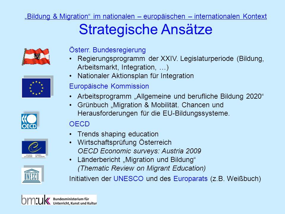 Österr. Bundesregierung Regierungsprogramm der XXIV. Legislaturperiode (Bildung, Arbeitsmarkt, Integration, …) Nationaler Aktionsplan für Integration