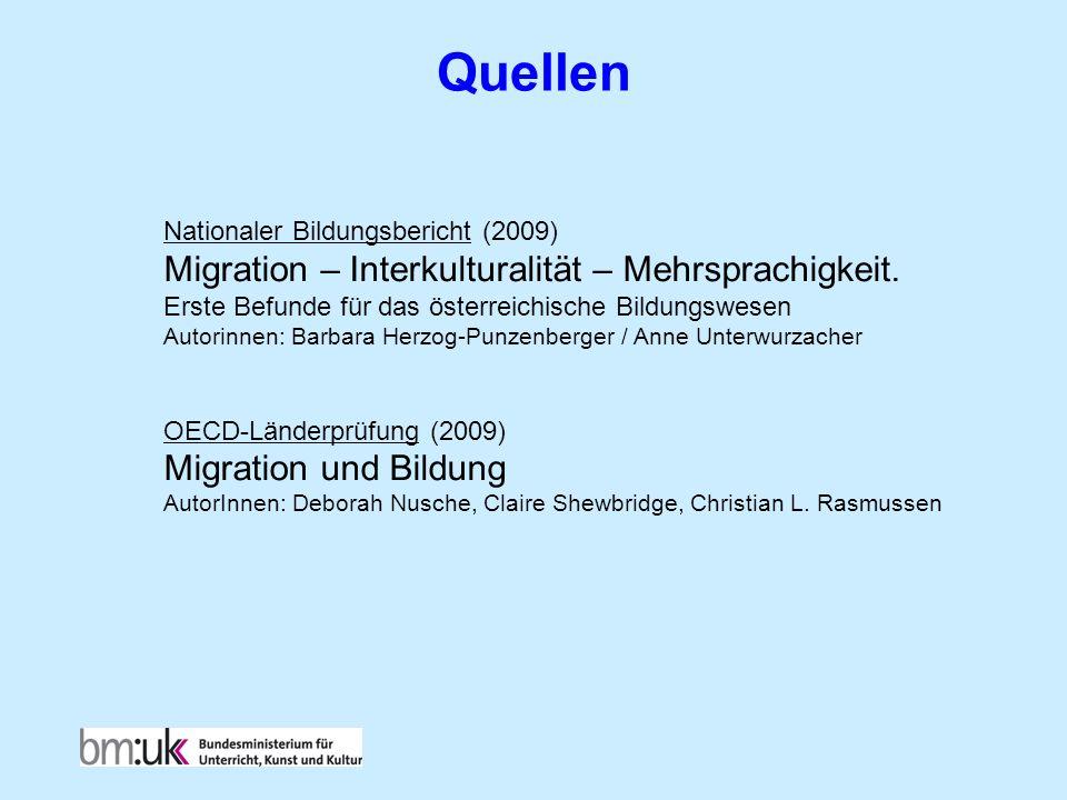 Quellen Nationaler Bildungsbericht (2009) Migration – Interkulturalität – Mehrsprachigkeit. Erste Befunde für das österreichische Bildungswesen Autori
