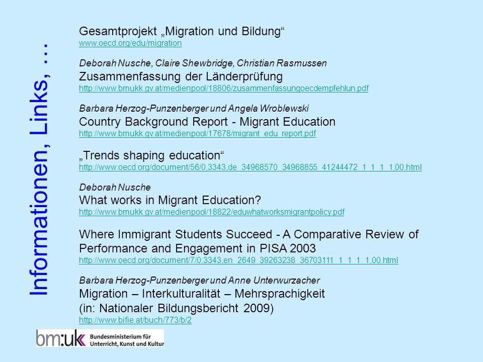 Gesamtprojekt Migration und Bildung www.oecd.org/edu/migration Deborah Nusche, Claire Shewbridge, Christian Rasmussen Zusammenfassung der Länderprüfun