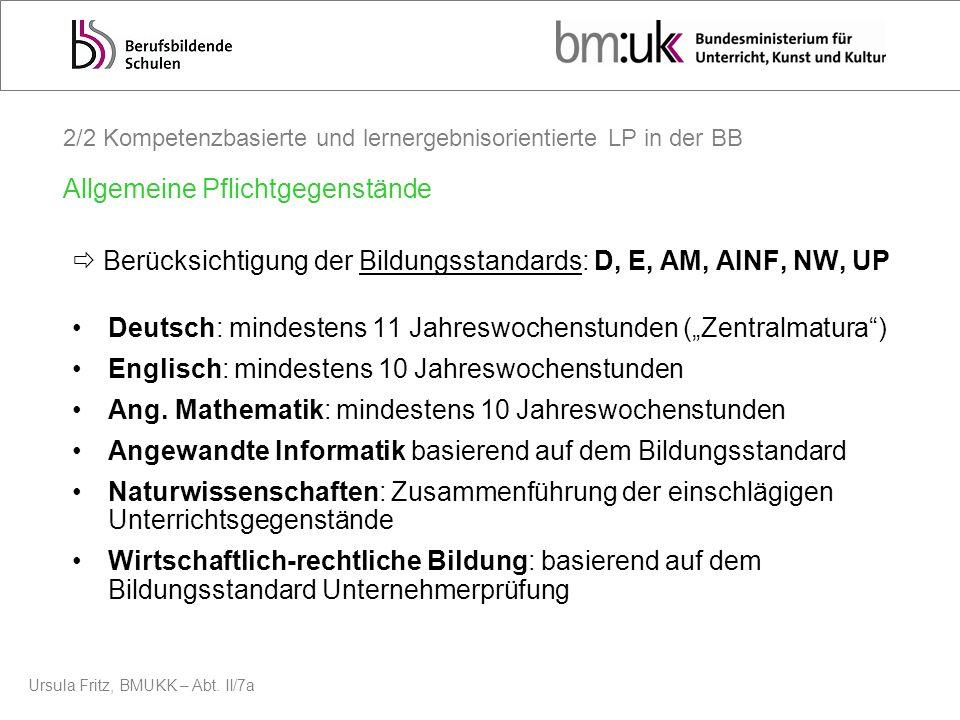 Ursula Fritz, BMUKK – Abt. II/7a Berücksichtigung der Bildungsstandards: D, E, AM, AINF, NW, UP Deutsch: mindestens 11 Jahreswochenstunden (Zentralmat