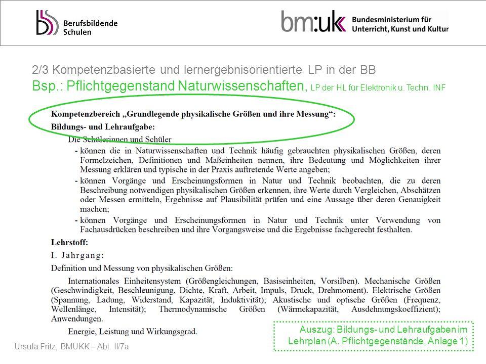 Ursula Fritz, BMUKK – Abt. II/7a 2/3 Kompetenzbasierte und lernergebnisorientierte LP in der BB Bsp.: Pflichtgegenstand Naturwissenschaften, LP der HL