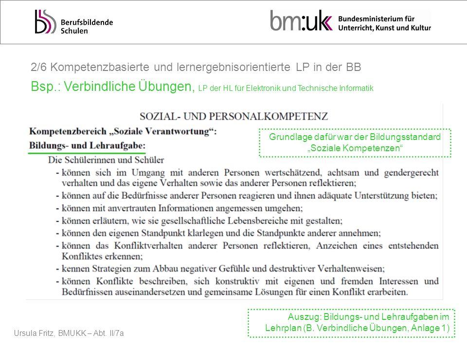 Ursula Fritz, BMUKK – Abt. II/7a 2/6 Kompetenzbasierte und lernergebnisorientierte LP in der BB Bsp.: Verbindliche Übungen, LP der HL für Elektronik u