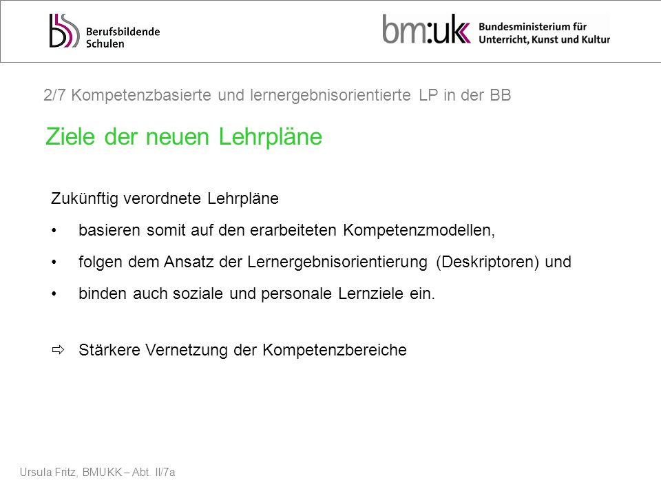 Ursula Fritz, BMUKK – Abt. II/7a 2/7 Kompetenzbasierte und lernergebnisorientierte LP in der BB Zukünftig verordnete Lehrpläne basieren somit auf den