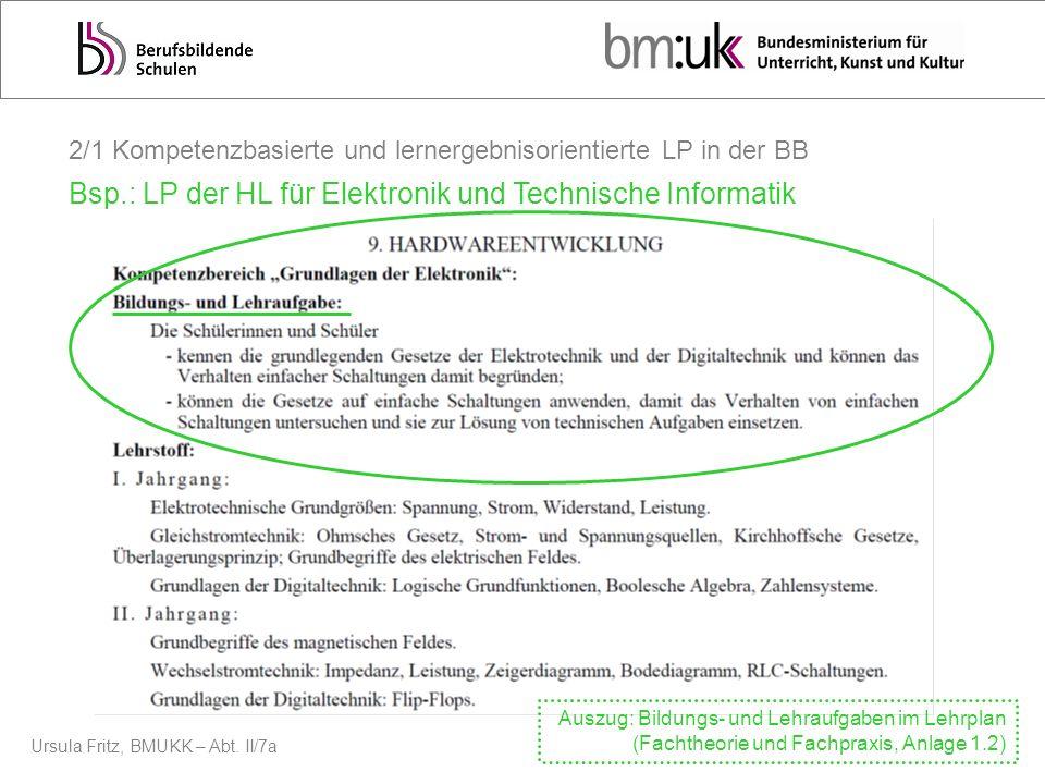 Ursula Fritz, BMUKK – Abt. II/7a 2/1 Kompetenzbasierte und lernergebnisorientierte LP in der BB Bsp.: LP der HL für Elektronik und Technische Informat