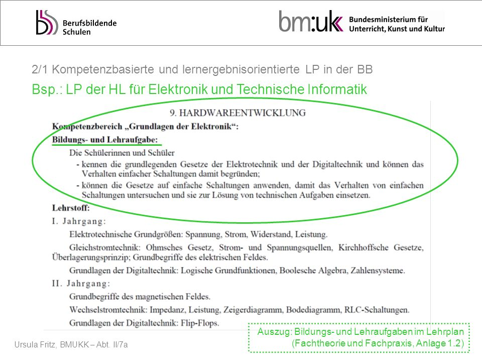 Ursula Fritz, BMUKK – Abt. II/7a Basis Charakteristikum Basis 2004 2010 2015