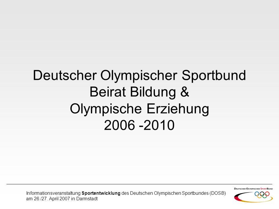 Informationsveranstaltung Sportentwicklung des Deutschen Olympischen Sportbundes (DOSB) am 26./27. April 2007 in Darmstadt Deutscher Olympischer Sport