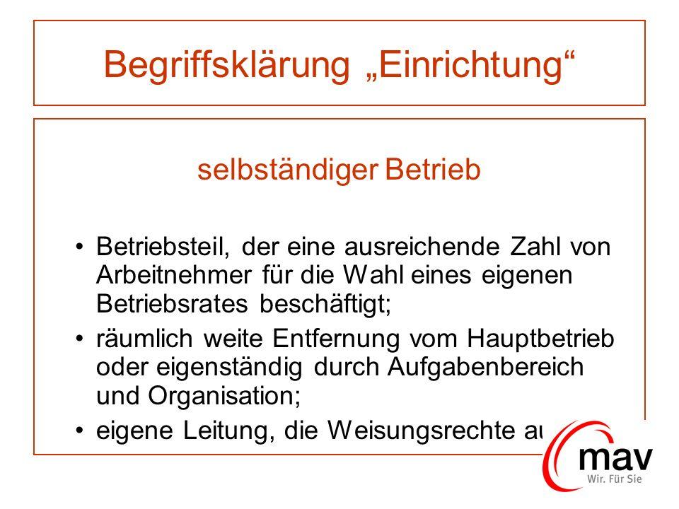 Begriffsklärung Einrichtung selbständiger Betrieb Betriebsteil, der eine ausreichende Zahl von Arbeitnehmer für die Wahl eines eigenen Betriebsrates b