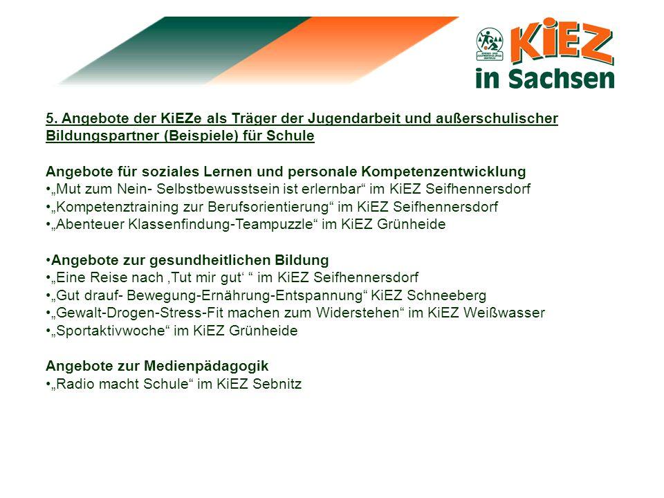5. Angebote der KiEZe als Träger der Jugendarbeit und außerschulischer Bildungspartner (Beispiele) für Schule Angebote für soziales Lernen und persona