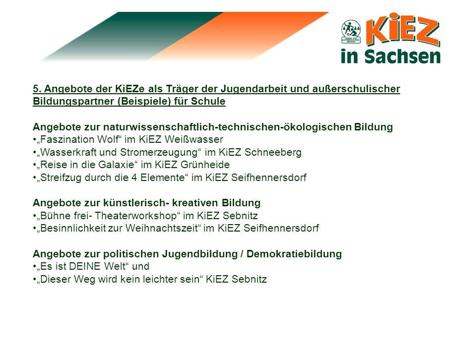 5. Angebote der KiEZe als Träger der Jugendarbeit und außerschulischer Bildungspartner (Beispiele) für Schule Angebote zur naturwissenschaftlich-techn