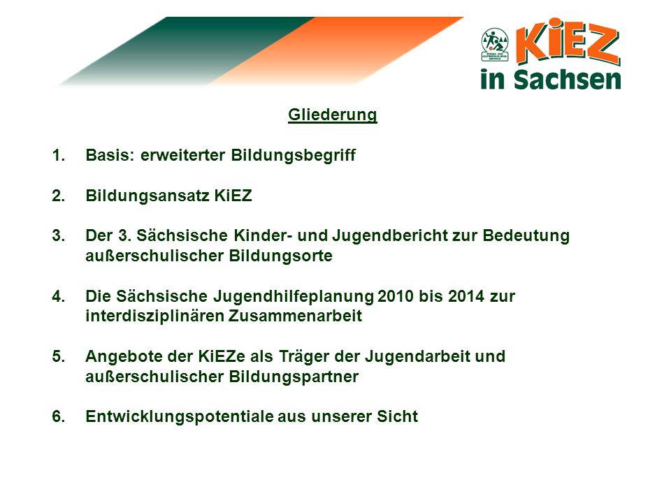 Gliederung 1.Basis: erweiterter Bildungsbegriff 2.Bildungsansatz KiEZ 3.Der 3. Sächsische Kinder- und Jugendbericht zur Bedeutung außerschulischer Bil