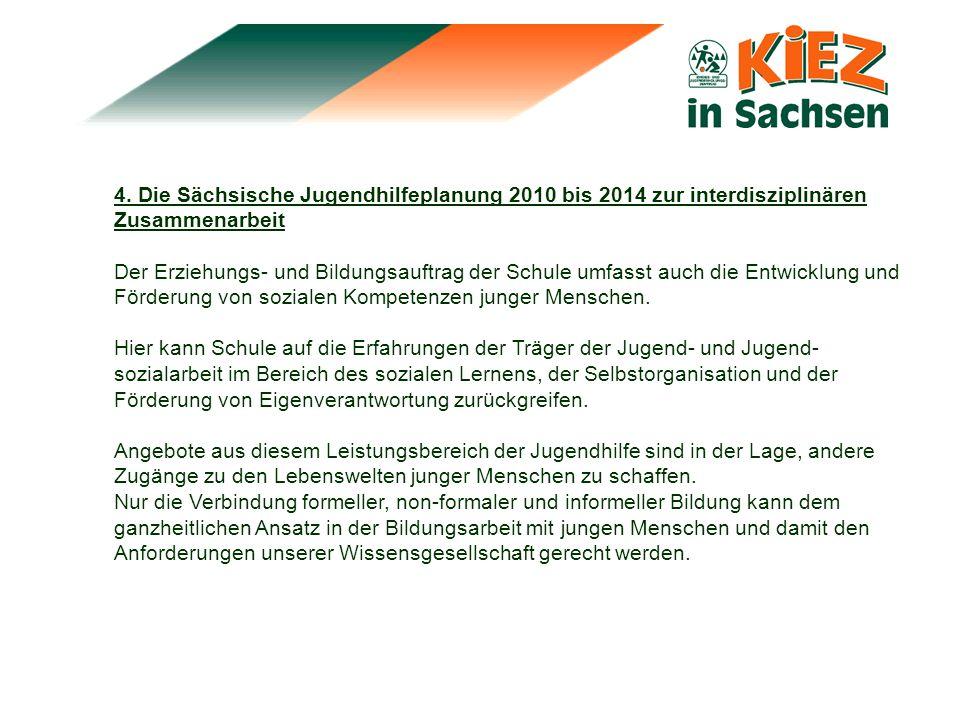4. Die Sächsische Jugendhilfeplanung 2010 bis 2014 zur interdisziplinären Zusammenarbeit Der Erziehungs- und Bildungsauftrag der Schule umfasst auch d