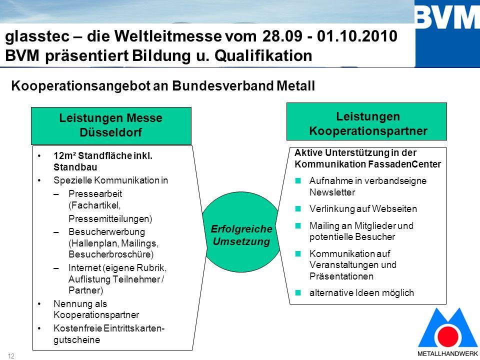 12 glasstec – die Weltleitmesse vom 28.09 - 01.10.2010 BVM präsentiert Bildung u.