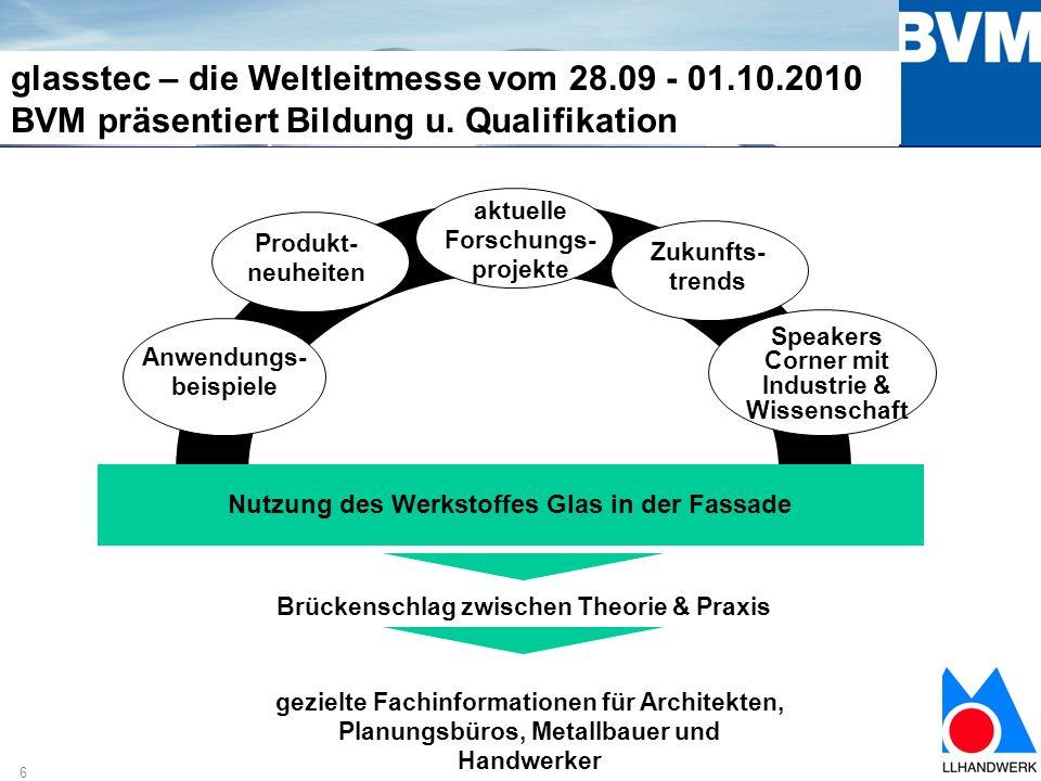 6 glasstec – die Weltleitmesse vom 28.09 - 01.10.2010 BVM präsentiert Bildung u.